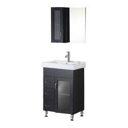 "Design Element - Design Element DEC022 Milan 24"" Single Sink Vanity Set in Espresso - Design Element DEC022 Milan 24"" Single Sink Vanity Set in Espresso"