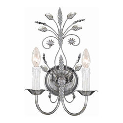 Crystorama - 2 Lights Silver Wall Sconce with Spectra Crystal Beads - Primrose wall sconce adorned with Swarovski spectra crystal beads.