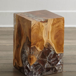Horchow - Sherwood Square Side Table - An unusual marriage of natural wood and acrylic gives this side table drama and presence. Whether you use it singly as a side table, in multiples as a coffee table alternative, or as a dynamic pedestal for artwork, this piece is sure to spark conversati...