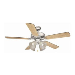 Design House - Indoor Ceiling Fans: Design House Energy Saving 52 in. Satin Nickel Ceiling Fan - Shop for Lighting & Fans at The Home Depot. This Energy Saving 52 in. fan has an attractive traditional design. Tri-mount adaptable this fan can be mounted with a downrod, in a close-up configuration or on a vaulted ceiling. A 3/4 in. diameter by 6 in. downrod is included. It has a 3-speed pull chain control and a reversible motor for comfort year round. It also includes a 60 in. hang straight. The satin nickel finish with frosted bell glass has five reversible blades, one side is a black finish and the other side is a light maple. Sleek and functional for year round use.