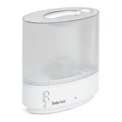 Stadler Form - Hydra Ultrasonic Humidifier - In need of an Ultrasonic humidifier that is stylish, powerful and AFFORDABLE?  Take a close look at Hydra.  Its elegance and appearance fit to your home.  The large stylish transparent water tank contains 1.6 gallon.  It also includes a demineralization cartridge to avoid white dust.  And the patented Ionic Silver Cube, inhibiting the growth of mold bacteria.  Including hygrostat and mist output regulator for controlled humidification.