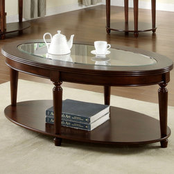 Furniture of America - Furniture of America Crescent Dark Cherry Glass Top Oval Coffee Table - This beautiful coffee table features an oval shape and a rich,dark cherry finish. Elegant turned legs stabilize this handsome piece while supporting the beveled glass top.