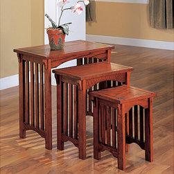 None - Mission Style Oak Nesting End Tables (Set of 3) - Add display space to your home with these nesting end tables. Tables are made of hardwood and wood veneer and will add style and functionality to any room. Each set of three comes with a small,medium,and large-size end table for easy stacking.
