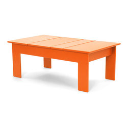 Loll Designs - Lollygagger Coffee Table Rectangle, Sunset Orange - The Lollygagger Coffee Table works as a Cocktail Table too; and what's the difference anyway? When you're settling back in your Lollygagger lounge this table will hold your favorite patio accessories, a happy little plant, and even your bare feet. Available in round or rectangle it's sure to accommodate that negative space between you and your friends.
