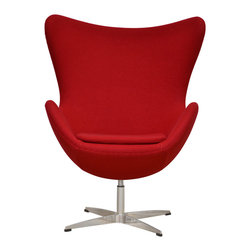 Inmod - Arne Egg Chair, Red - Innovative, comfortable and purely iconic design, the Arne Egg Chair is inspired by the classic Egg Chair designed by Arne Jacobsen.