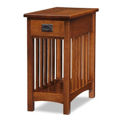 Leick Furniture - Mission Impeccable Side Table - Dovetailed drawer. Bottom display shelf. Durable, hand padded finish. Made of solid Ash and Oak veneers. Minimal assembly required. 22.5 in. W x 12 in. D x 24 in. H