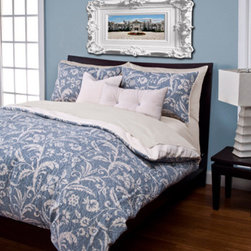 Siscovers - Monaco Blue and White Six Piece Queen Duvet Set - - Set Includes: Duvet - 94x98, Two Queen Shams - 30x20, One Decorative Pillow - 16x16, One Decorative Pillow - 26x14  - Workmanship and materials for the life of the product. SIScovers cannot be responsible for normal fabric wear, sun damage, or damage caused by misuse  - Reversible Duvet and Shams  - Care Instructions: Machine Wash  - Made in USA of Fabric made in China Siscovers - MONA-XDUQN6