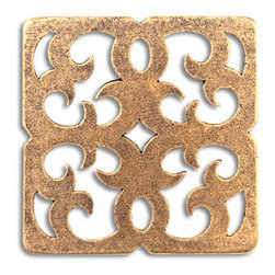 "Compliments Accessories - Ravenna Tile - Byzantine open scrollwork design in a 2x2"" tile with an Aged Brass finish"