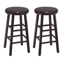 Winsome - 24 in.  Swivel Kitchen Stool - Set of 2 - Set of 2 Swivel Bar Stools in dark espresso finish. Solid wood sturdy construction with foot rest bars; round legs and slightly curved 12.8 in. seat. At 25.28 high, it is a great size for counters and pub tables.