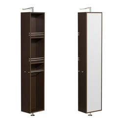 Wyndham Collection - Amare Linen Tower & Rotating Floor Cabinet w/ Full-Length Mirror in Espresso - The Amare rotating wall cabinet with mirror takes modern looks and bathroom storage to the next level with its clever design. Featuring a space-saving design which rotates 360 degrees this cabinet combines a full length mirror on one side with three large storage spaces and integrated towel racks on the other. This unit mounts to the floor and wall and metal mounting hardware is included.