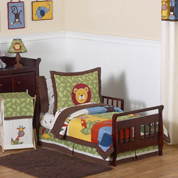 Sweet Jojo Designs - Sweet Jojo Designs Boy 5-piece Jungle Time Toddler Comforter Set - Made from 100-percent cotton and microsuede fabrics,this toddler bedding set features detailed monkeys,lions,giraffes,crocodiles and elephant jungle themed appliques and embroidery works.