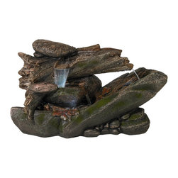 """Lamps Plus - Tree Trunk and Rocks LED Fountain - Bring an outdoorsy feel to your indoors or enhance an outdoor area with the calming trickle of cascading water. This tree trunk and rock inspired LED fountain offers a deep forest feel for any patio or garden. Plugs into a standard wall socket. Stone finish. Resin construction. LED light array included. 120V. 22"""" high. 41"""" wide. 17"""" deep.  Tree trunk and rocks LED fountain.  Perfect for tabletop indoor or outdoor.  Stone finish.  Resin construction.  LED light included.  Comes with pump.  22"""" high.  41"""" wide.  17"""" deep."""