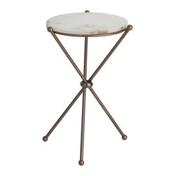 Chloe Antique Brass/Marble Accent Table - Ball feet and angled construction give a light, almost sparse look to this elite Chloe Accent Table. Composed of a small, round slab of high-quality snow marble balanced atop three angled legs in dark antique brass, the structure is eminently simple yet somehow classic; the table adds a pleasingly ephemeral look to the arrangements you devise among your furnishings.