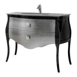 "Macral - 44"" Paris Bathroom Vanity. Black-Silver lacquered & Swarovski Crystal handles - Take poshness to a whole new level in your bathroom with this opulent bathroom vanity. The lacquered solid wood base is sumptuously complemented by the tempered glass countertop and Swarovski crystal-embedded drawer pulls."