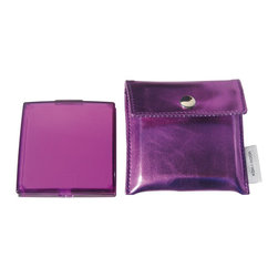 Modo Bath - Toeletta 391C Square 3X Magnifying Pocket Mirror in Purple - Toeletta 391 Pocket Travel Mirror, 3X Magnification, in Colored ABS, with Case