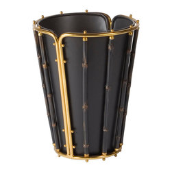 WASTE BIN BLACK RESIN / BRASS - Rubbed Black Resin and Brass Waste Bin, Bamboo Motif, Black Tole Liner