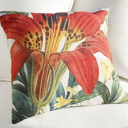 "Red Lily Botanical Outdoor Pillow, 20"" sq. - Rendered in delicate detail, this lush springtime bloom adds a splash of color to a seating area. 20"" square Woven of soft, water-repellent polyester. Reverses to same. Made in America of imported materials. Internet Only."