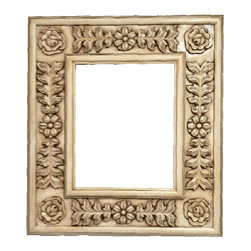 Fancydecor - Decorative French Mirror Frame Solid Carved Wood, White W/Brown Wash - SOLID Frame Mirror carver