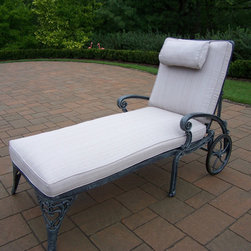 Oakland Living - Oakland Living Mississippi Cast Aluminum Cushion Arm Chaise - Our Chaise lounges are perfect for your patio deck balcony or swimming pool area. It fits small outdoor space or to accent a larger space. It is constructed of rust-free cast aluminum and featured a hardened powder coated finish for years of beauty. This chaise lounge comes with wheels for your easy to move it around and comes with seat & back cushions for your comfort. The Oakland Sunray Collection combines functionality and modern design giving you a rich addition to any outdoor setting. With a crisp stylish sunburst pattern each piece is hand cast and finished for the highest quality possible.For more than 15 years Oakland Living has been making wrought iron aluminum and resin wicker patio furniture and has built a reputation around their quality construction and superior value. Their furniture is made to weather even the most inclement conditions and stay looking good year after year. Because their items are warehoused here in the U.S. you will enjoy quick shipping on all your patio furniture purchases. Features include Easy to Follow Assembly Instructions and Product Care Information Metal Hardware Some Assembly Required 1 Year Limited Manufacturers Warranty Other Items Available in Collection We recommend that the products be covered to protect them when not in use. To preserve the beauty and finish of the metal products we recommend applying an epoxy clear coat once a year..