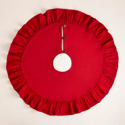 """Ruffled Red Burlap Tree Skirt - I'm calling this the """"Lady in Red,"""" and she couldn't be more lovely in all of her ruffled glory."""