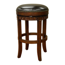 Portofino Stool - Elegantly designed and gorgeously constructed, this backless barstool is a seat fit for a king (or queen). Richly finished and amply cushioned, it will add sophisticated style — and 360 degrees of swivel — to your space.