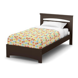 South Shore - 79 in. Twin Bed in Chocolate - Includes: Twin headboard, footboard and 39 in. bed frame. Mattress and accessories not included. Laminated particle boards. Economic choice since it does not require the use of a box spring. Decorative grooves on the panel at the end of the bed to resemble legs. Weight capacity: 250 lbs.. Warranty: Five years limited. Made in Canada. Assembly required. 79 in. L x 44 in. W x 36.25 in. H (108 lbs.). Assembly InstructionsSafety is an integrated part of our values: this product meets or exceeds all North American safety standards.