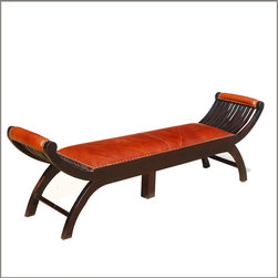 "Sierra Living Concepts - Contemporary Mango Wood & Leather Chaise Lounge Bench - Add some modern romance to your interior design with our Modern Chaise Lounge Bench. This handmade 70"" long backless sofa is built with solid mango wood, a tropical hardwood grown as a sustainable corp."