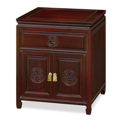 China Furniture and Arts - Rosewood Longevity Design Cabinet - Place it next to your bed or a sofa, our lamp-table conveniently provide the space for decorating and storage. You can stack a few reading-in-process books on the spacious top or display small collectables and leave none-artistic often-used items in the drawer. More storage space behind doors. Made of solid rosewood. The Longevity symbol is hand carved on the doors and the drawer-pull. Constructed with traditional joinery technique for long lasting durability. Hand-applied dark cherry finish.