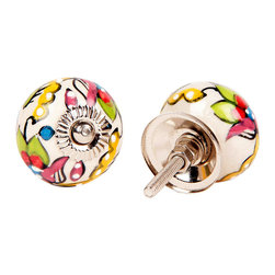 MarktSq - Embossed Ceramic Knobs (Set Of 4) - Embossed ceramic knobs in a colorful floral pattern.