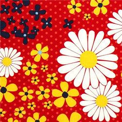 red organic fabric flowers & dots by Robert Kaufman - Organic Fabric with big Daisies