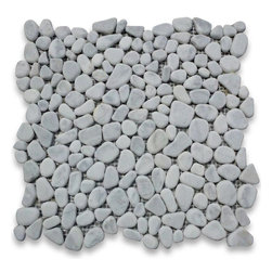 "Stone Center Corp - Carrara Marble River Rocks Pebble Mosaic Tile Tumbled - Premium Carrara white marble random pebbles mounted on 12"" x 12"" sturdy mesh tile sheet"