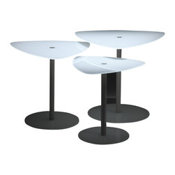 Creative Furniture - Serena 3 End Tables Set - Bright, stylish, modern, trendy, comfortable, beautiful and neat set. If you need occasional tables in different sizes, it will be more comfortable and profitable to buy a set These tables have a triangular top of a white frosted glass. They have disk base made of stainless steel. This pack of would look great in a modern interior.    Features: