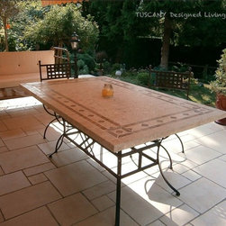 TUSCANY ITALIAN MOSAIC MARBLE PATIO GARDEN TABLE - Reference: OT954-20-US + OTB3-20-US