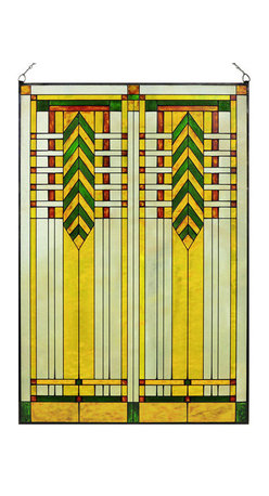 """Maclin Studio - Arts and Crafts Prairie 20"""" x 30"""" Chevron Art Glass Panel Green - Our striking new Arts and Crafts Prairie 20"""" x 30"""" Chevron Art Glass Panel Green is hand made in the USA with a color palette of Greens, Browns, Gold Ambers and Frosted Clear. Ht: 30.5"""" W: 20.5"""". On this glass panel, enamel colors are individually applied to a single sheet of tempered glass giving each panel unique aspects of both color and texture. The glass is then framed with a patinated metal came and comes complete with mounting chain."""