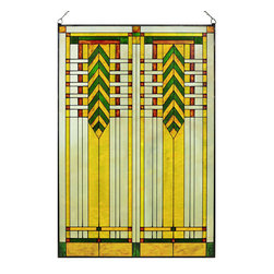 "Maclin Studio - Arts and Crafts Prairie 20"" x 30"" Chevron Art Glass Panel Green - Our striking new Arts and Crafts Prairie 20"" x 30"" Chevron Art Glass Panel Green is hand made in the USA with a color palette of Greens, Browns, Gold Ambers and Frosted Clear. Ht: 30.5"" W: 20.5"". On this glass panel, enamel colors are individually applied to a single sheet of tempered glass giving each panel unique aspects of both color and texture. The glass is then framed with a patinated metal came and comes complete with mounting chain."