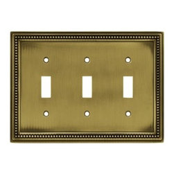 Liberty Hardware - Liberty Hardware 64736 Beaded WP Collection 6.85 Inch Switch Plate - Tumbled Ant - The Beaded design adds elegance and sophistication to every room. The antique brass finish brings distinguished style and grace to any room. Quality zinc die cast base material. Available in the 10 most popular wall plate configurations.. Width - 6.85 Inch,Height - 5 Inch,Projection - 0.3 Inch,Finish - Tumbled Antique Brass,Weight - 0.75 Lbs