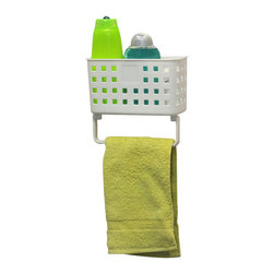Rectangular Bath Caddy + Towel Stand on Strong Suction Cups Pp White - This rectangular bath caddy is made of durable polypropylene and provides adequate storage for all your shower accessories and towels. It features a towel rack which holds hand towels and has holes in the bottom for drainage. Two extremely strong suction cups secure the adhesion to the bath tiles. Simply turn the suction cup buttons and hold firmly to your shower wall. It easily holds small bottles, sponges, body washes, shampoos or lotions without any drilling, tools, or damage to your walls. Length of 7.9-Inch, depth of 3.15-Inch and height of 7-Inch. Wipe clean with soapy water. Color white. Organize your bath items and tidy up your shower area with this rectangular bath and towel caddy! Complete your decoration with other products of the same collection. Imported.