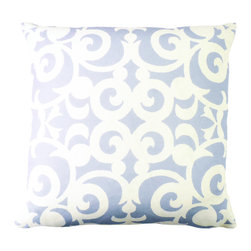 "KEE Design Studio - Voluta Pillow, Glacier - ""Voluta,"" an original pattern by Kee Design Studio, is a modern take on a traditional scroll work motif. It is printed on a lovely cotton/linen blend fabric, has a knife-edge finish with an invisible zipper, and  features a generously full 10/90 white goose down insert."