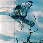 The Tile Mural Store (USA) - Tile Mural - Hawk In Flight Ii - Kitchen Backsplash Ideas - This beautiful artwork by Alan Hunt has been digitally reproduced for tiles and depicts a Hawk just leaving a tree.  Images of birds of prey on tiles are great to use as a part of your kitchen backsplash tile project or your tub and shower surround bathroom tile project. Pictures of eagles on tile and images of owls on tiles make a great kitchen backsplash idea and are excellent to use in the bathroom too for your shower tile project. Consider a tile mural of hawks and eagles for any room in your home where you want to add interest to a plain tile wall area.