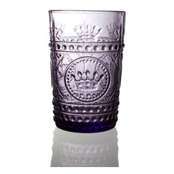 Louis Tumbler-Amethyst - Royal purple given subtlety in the form of a gorgeously-textured transparent glass, the Louis Tumbler in Amethyst elevates your drinkware to regal levels.  Whether this crown-emblazoned collection becomes your go-to set for entertaining, or you simply mix these dimensional glass tumblers with an eclectic assortment of other glassware, the effect is dazzling and dramatic.