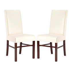 Safavieh - Safavieh Astor Soft Cream Bicast Leather Side Chairs (Set of 2) - These classic leather side chairs have a simple,modern design. They come in soft cream with contrasting espresso-stained legs. The set contains two chairs that are perfect as additional dining room chairs or as a comfortable accent set.