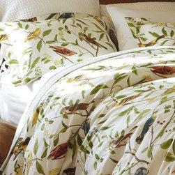 Spring Sparrow Duvet Cover And Sham - I would truly become one with nature if I slumbered under this beautiful Spring Sparrow bedding. It looks like a page out of a vintage bird-watching book!