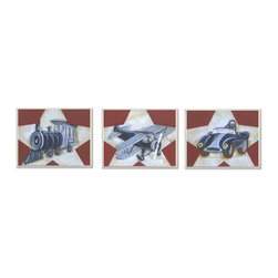 None - Train, Plane & Car Wall Plaques (Set of 3) - Artist: Reesa Qualia Title: Train, Plane & Car Product type: Lithograph reproduction