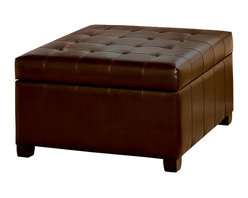 Great Deal Furniture - Lyncorn Leather Storage Ottoman Coffee Table - Having a multifunctional piece of furniture in your living room is the easiest way to take advantage of your space. The Lyn corn Storage Ottoman not only gives you a sizable storage space inside, you get the convenience of it being hidden away out of sight.