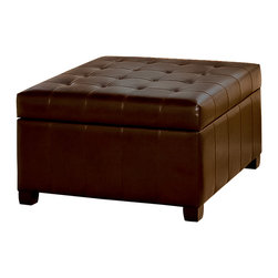 Great Deal Furniture - Lyncorn Leather Storage Ottoman Coffee Table - Having a multifunctional piece of furniture in your living room is the easiest way to take advantage of your space. The Lyncorn Storage Ottoman not only gives you a sizable storage space inside, you get the convenience of it being hidden away out of sight.