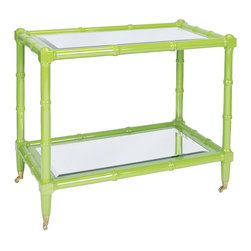 Worlds Away - Worlds Away Green Lacquer Wooden Bar Cart PALM GR - Worlds Away Green Lacquer Wooden Bar Cart PALM GR