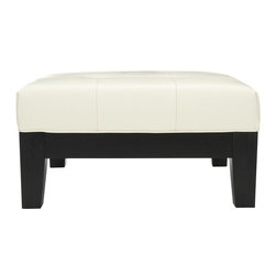Safavieh - Jordan Square Cocktail Ottoman - White - Practical and good-looking, the Jordan square cocktail ottoman is a dual purpose piece that provides extra seating and a place for cocktails, snacks, books and more. Crafted of chic but sturdy off-white bicast leather, its quilted top is set in an elegant frame of black beech wood.