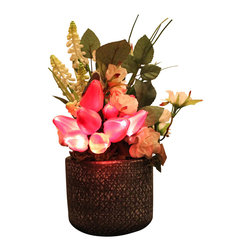 The Firefly Garden - Spring Tulips - Illuminated Floral Design, Fuchsia, Purple Ceramic Vase - Bring the beauty of light and flowers together with Spring Tulips, a perfect home accent for a nook, bathroom, or side table. These high quality tulips look and feel real. Lovely by day and breath-taking at night, simply turn on this battery operated floral arrangement and watch the tulips light up!