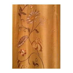 Used Pottery Barn Silk Dupioni Drapes Wheat - A Pair - A gorgeous pair of silk dupioni, wheat colored embroidered drapes. These drapes are lined and have a pole pocket or can be used with drapery hooks (included).    These luxurious drapes add rich texture to a room. They are in excellent condition and come from a pet-free and smoke-free home. The embroidery runs up both sides of each panel. The embroidery colors are gold, moss green and terracotta.    Each panel is 50 inches by 84 inches.