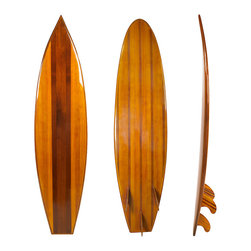"Inviting Home - Wood Surfboard - Decorative surfboard; 76-3/4"" x 19-3/4"" x 7""; Only a few craftsmen now have the skills needed to build a classic wooden surfboard. Long enough to ride the waves off Waikiki or Malibu. This wooden surfboard is just short enough to casually lean into a corner of your living room study or den... Our surfboards are made of laminated strips of selected light woods. Three fins are included for improved stability... A surfboard cut in half it serves to hold books shells and pictures from your beach adventures."